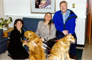 Bob, Debee, Boston, Glade and Kristi (Boston's puppy raiser) at Guide Dogs for the Blind.
